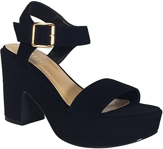 Amazon.com | BAMBOO Women's Chunky Heel Platform Sandal with .