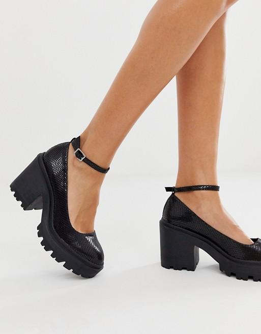 ASOS DESIGN Summit chunky heels in black snake | AS