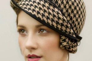 The Charis Felt Cloche Hat Houndstooth Pattern Flapper   Et