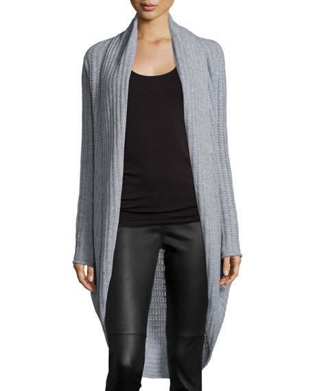 360Sweater Cashmere Ribbed Cocoon Cardigan, Heather Gr
