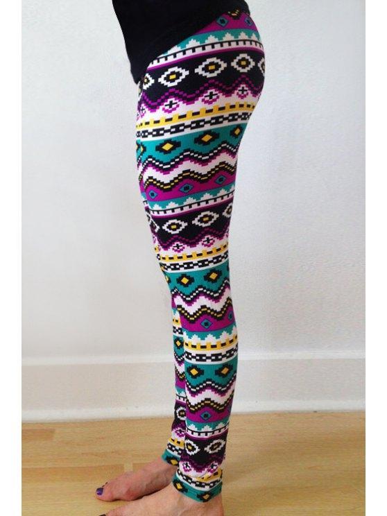 26% OFF] 2020 Geometric Print Skinny Colorful Leggings In COLORMIX .