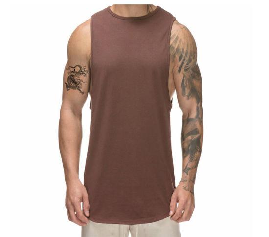 China Custom Mens Singlet 100% Cotton Gym Vests Training Tank Top .