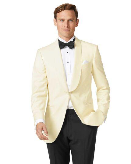 Cream slim fit shawl collar tuxedo jacket   Charles Tyrwhi