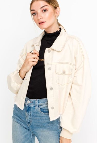 Dallas Cream Denim Jacket   Denim outfit, Cropped jacket outfit .