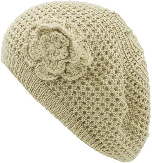 an Crochet Hats for Women Beanie Cap Beret Knit Flower Beige Teens .