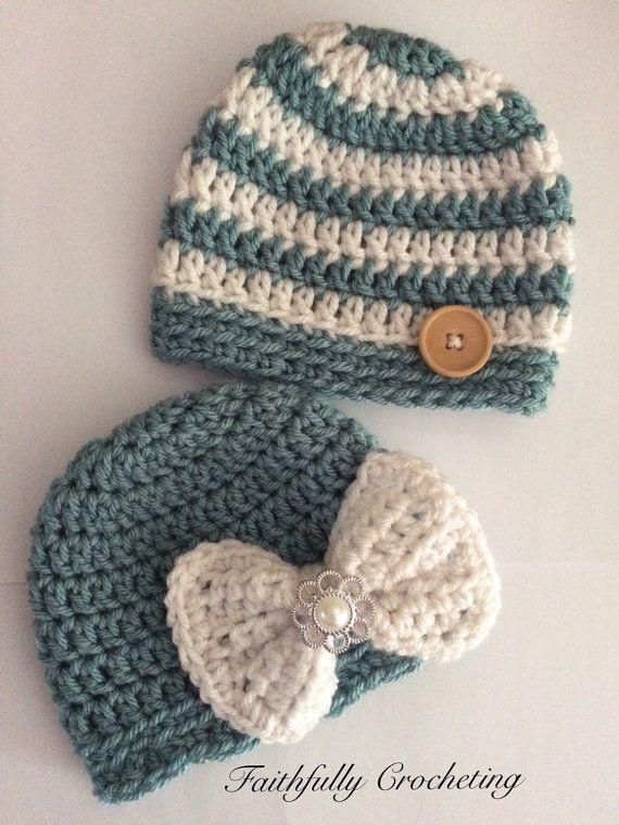 Crochet Baby Hats Newborn twin hats.. Boy/girl twin hats .