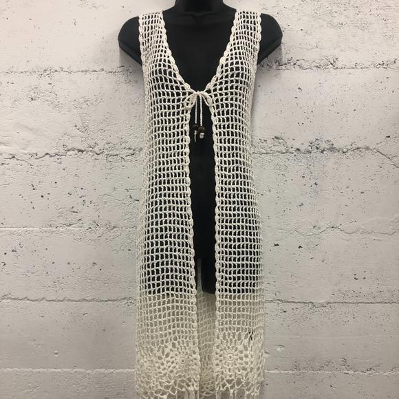 LF Jackets & Coats   Sleeveless Crochet Vest Hippie Boho Fringe .