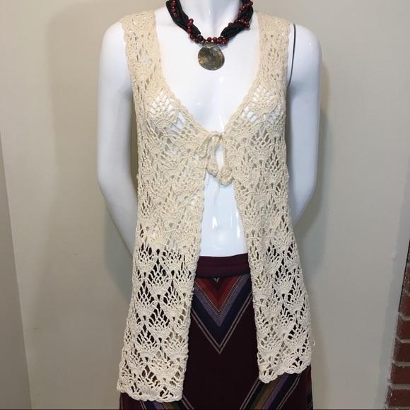 Vintage Jackets & Coats   Crochet Vest Hippie Boho Festival Style .