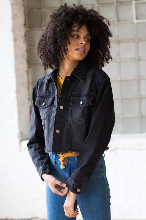 Black Crop Fray Hem Distressed Denim Jacket - Ragsto
