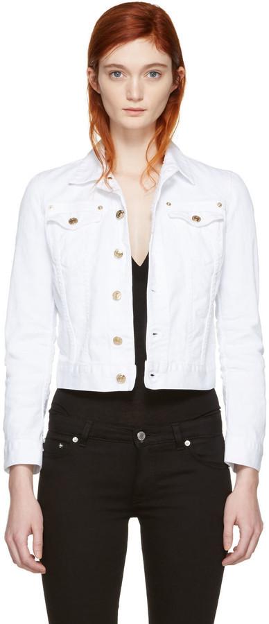 Dsquared2 White Cropped Denim Jacket, $580   SSENSE   Lookastic.c
