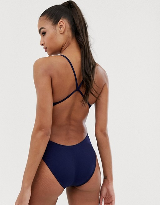 Nike cut-out swimsuit in navy   AS