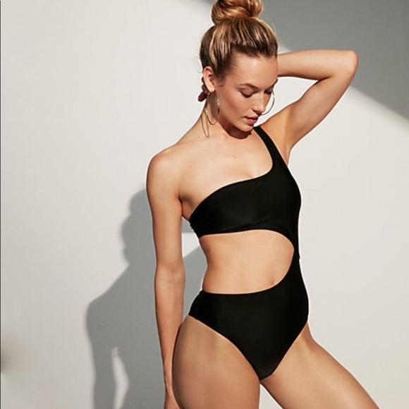 Express Swim   Onepiece One Shoulder Cutout Suit   Poshma