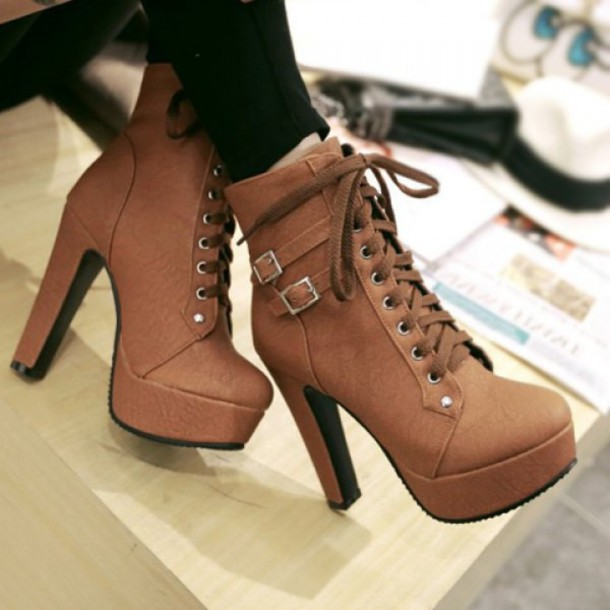 chaussures, talons hauts, marron, mignon, mode, talon haut pour femme à la mode.