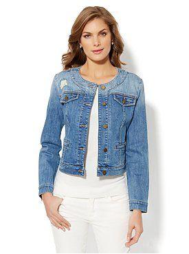 Collarless Denim Jacket from New York & Company | Clothes, Denim .