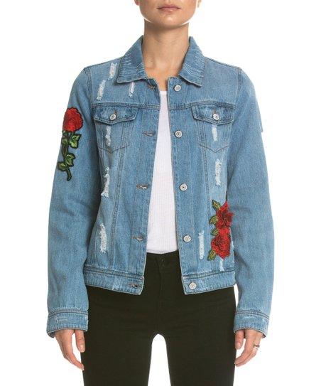 Elan Blue Floral-Patch Distressed Denim Jacket - Women | Zuli