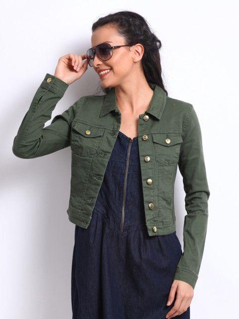 ONLY Women Olive Green Denim Jacket | Green denim jacket women .