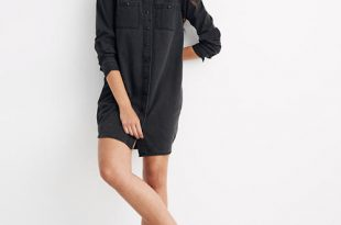 Women's Black Denim Shirtdress | Madewe