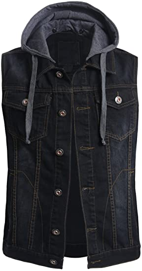OLLIN1 Mens Casual Denim Vest Jacket with Hoodie at Amazon Men's .