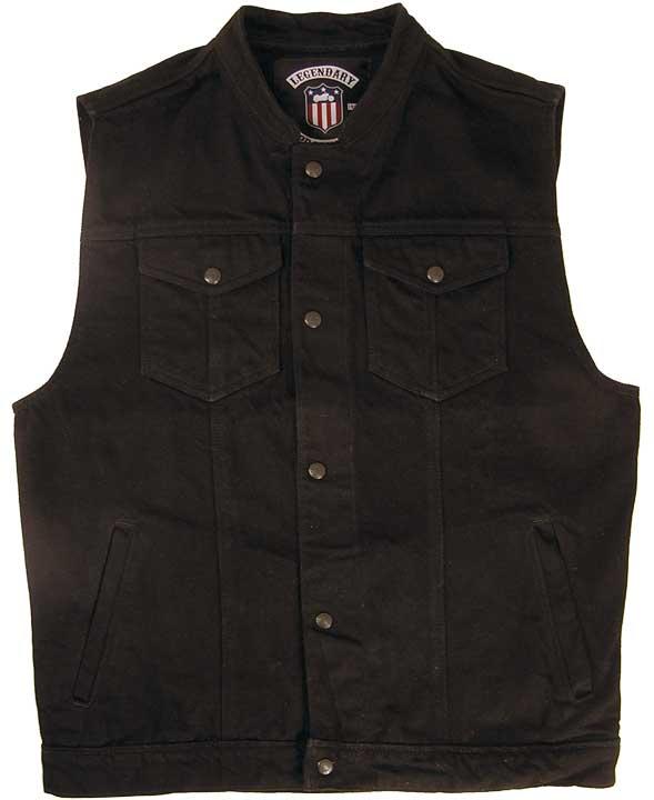 Denim Motorcycle Vest - Made in the USA | Black Jean Ve