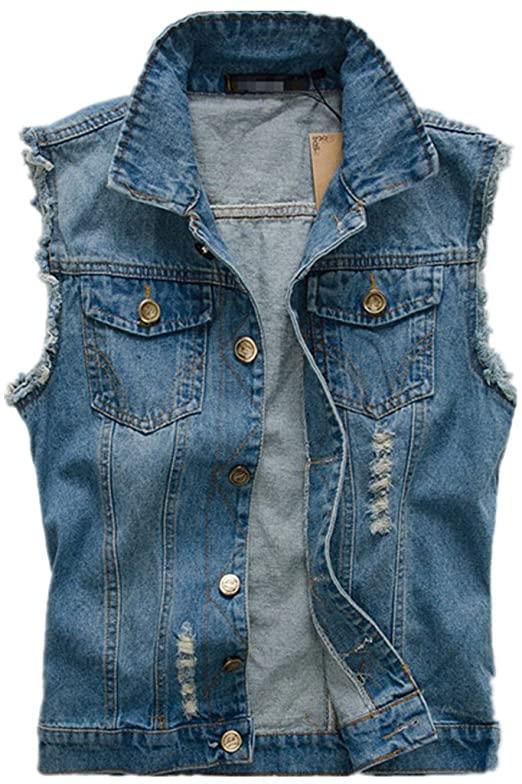 HZCX FASHION Mens Brush Frazzle Denim Jean Vest Button up .
