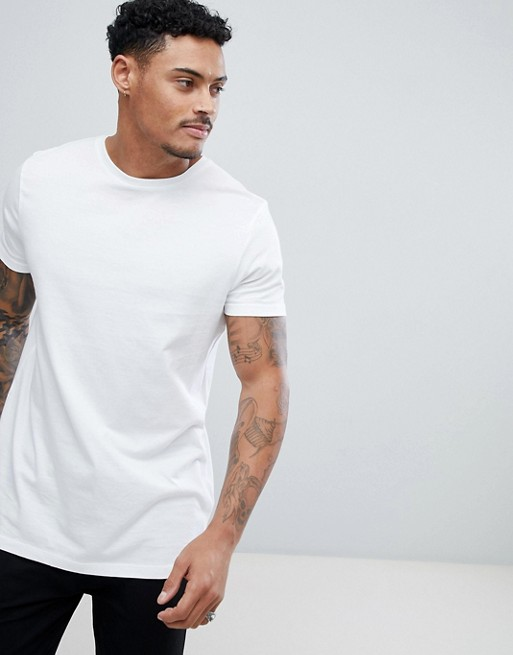 ASOS DESIGN longline t-shirt with crew neck in white   AS