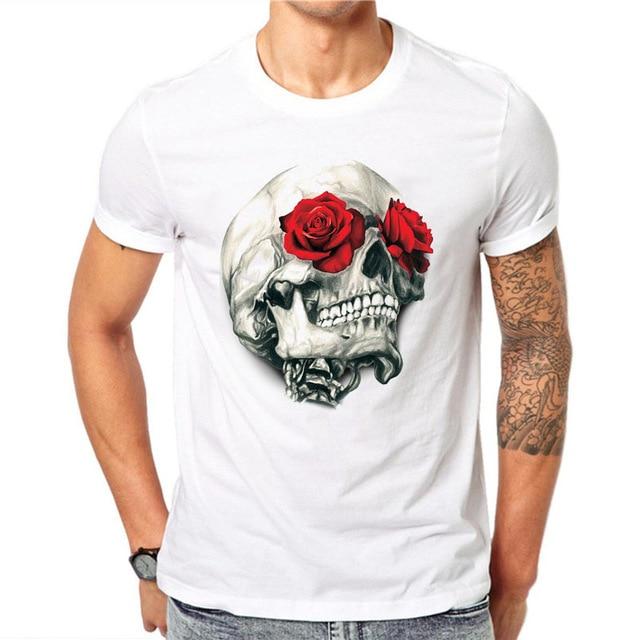 100% Cotton Harajuku Men T Shirts Fashion Red Rose Floral Skull .