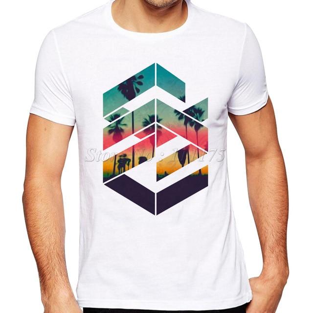 2019 Newest Summer Fashion Geometric Sunset beach Design T Shirt .