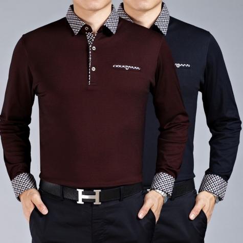 collar solid color formal design work office men's t-shirt - TiaN