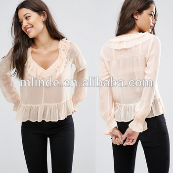 New Arrivels Women Fashion Designer Tops Ladies Sheer Blouse With .