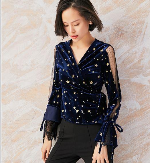 2019 Runway Designer Tops Blouse Women's Star Velvet Mesh Lace .