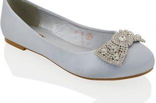 Amazon.com   ESSEX GLAM Womens Flat Bridal Shoes Satin Diamante .