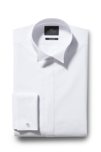 Moss London Extra Slim Fit White Double Cuff Wing Collar Dress Shi