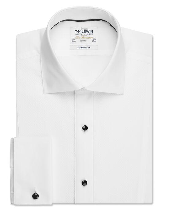 Stud Strip Slim Fit White Dress Shirt with Cufflinks | T.M.Lew