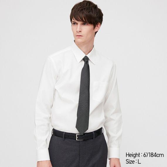 MEN Fine Cloth Super Non Iron Slim Fit Long Sleeve Shirt(Regular .