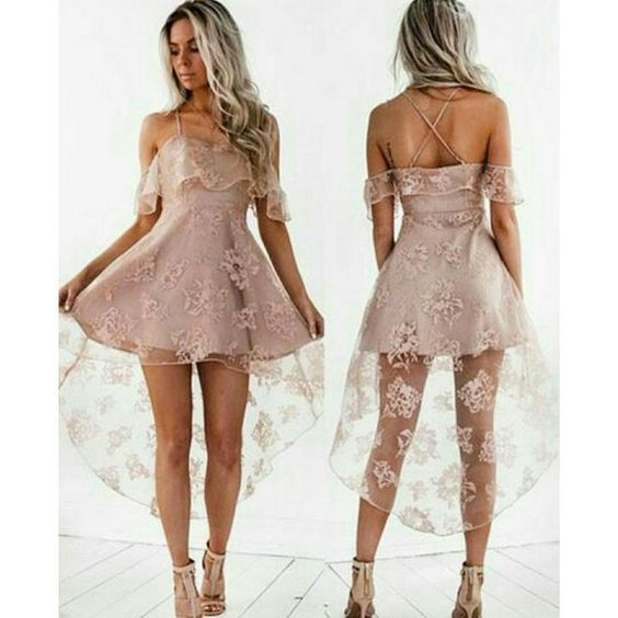 Black/pink homecoming dresses,high low | PrettyLa
