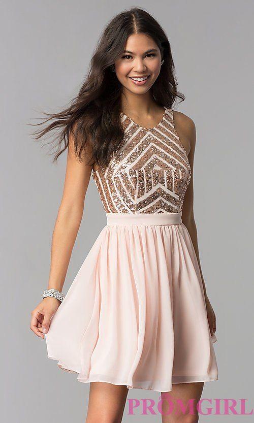 Sleeveless Short Rose Gold Homecoming Dress | Rose gold homecoming .
