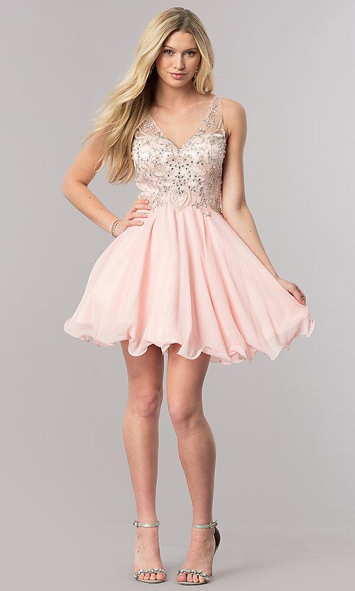 Jeweled-Bodice V-Neck Short Homecoming Dress -PromGi