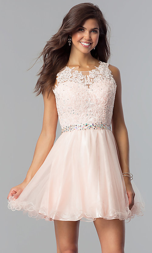 Semi-Formal Short Homecoming Party Dress with La