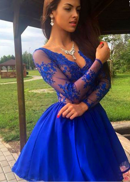 Royal Blue Lace Homecoming Dress,Short Prom | Cocopromdre