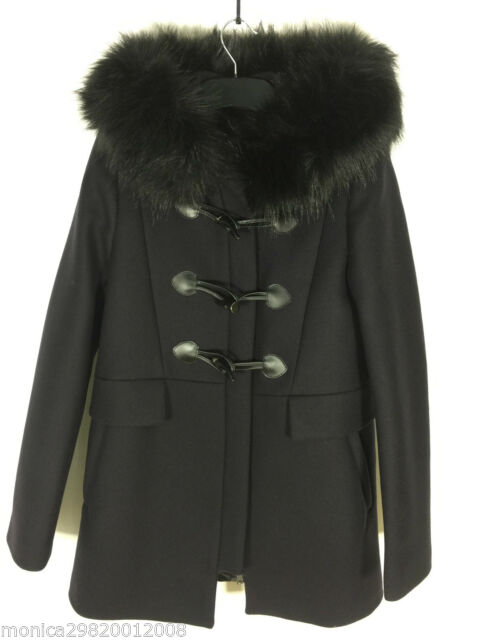 Zara Navy Blue Duffle Coat With Faux Fur Collar Size Small Ref .
