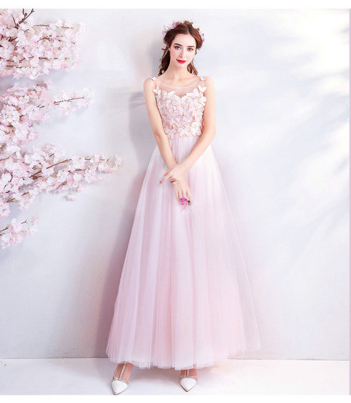 Evening Dresses For Women Pink A Line Long Prom Dre