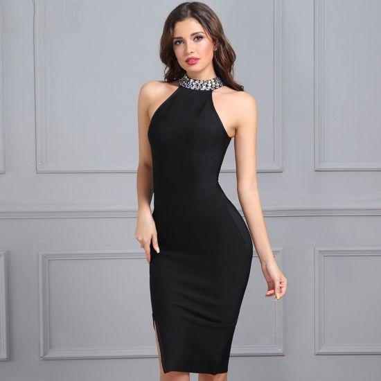 China Black Halter Dress Women Evening Dress Party Short Bodycon .