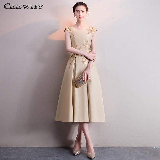 CEEWHY A Line Satin Formal Dress Women Elegant Short Evening Dress .