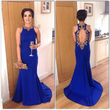 $145.99 Royal Blue Long Evening Dresses 2020 Sheath Sleeveless .