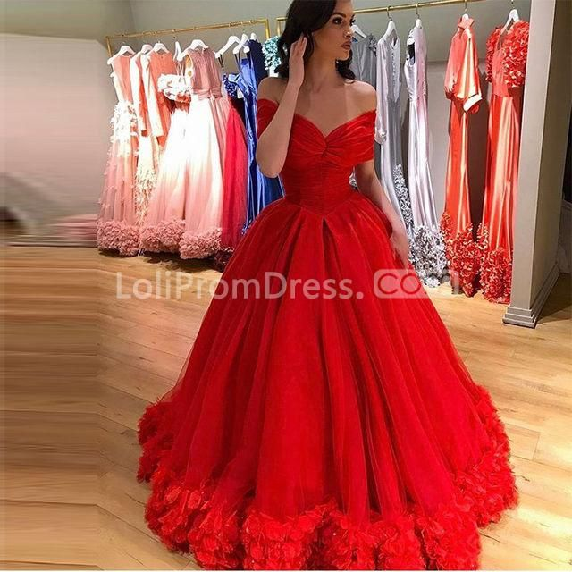 Long Red Ball Gown Short Sleeves Zipper Flowers Prom Dresses 2019 .
