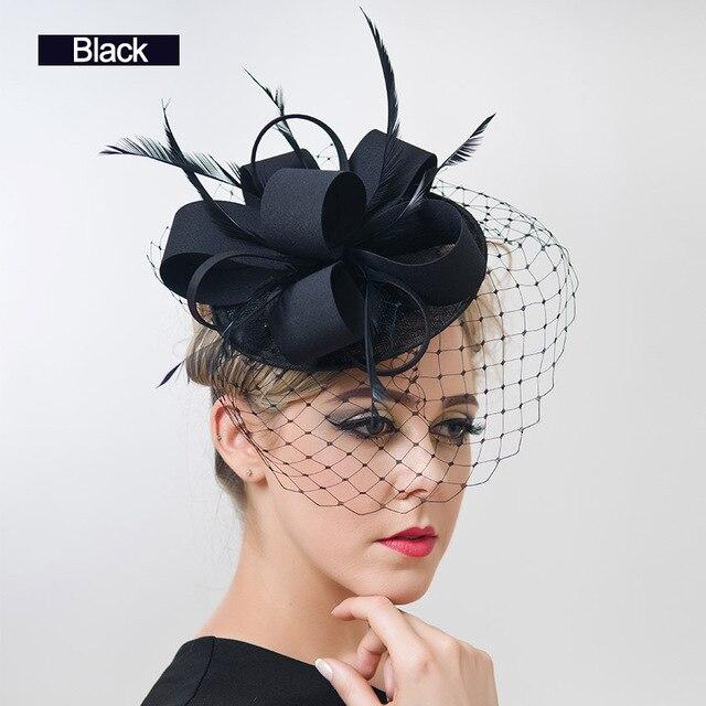 free shipping Women Fancy Feather Fascinator Hats Black Birdcage .