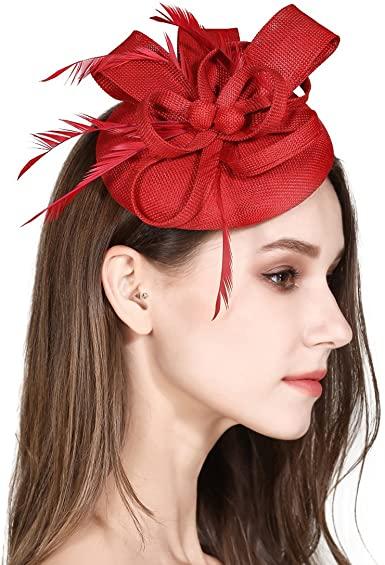 Fascinator Feather Fascinators for Women Pillbox Hat for Wedding .
