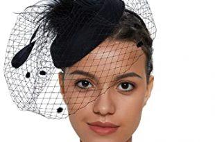 Zivyes Fascinator Hats for Women Pillbox Hat with Veil Headband .