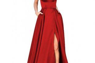 A-Line Red Prom Dresses Satin Fashion Dress Cheap | la