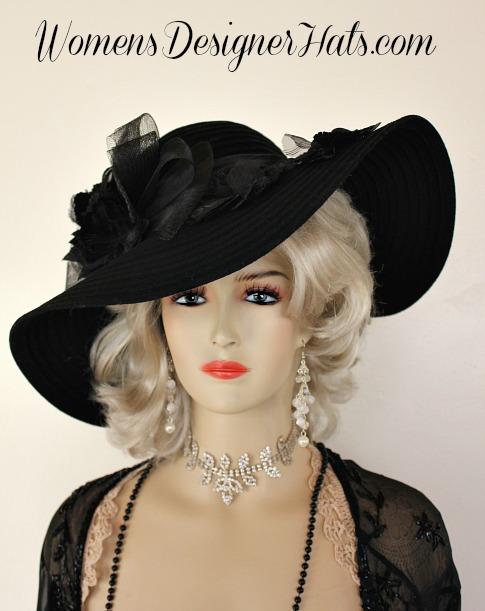Black Wide Brim Floppy Designer Winter Velvet Hat, Womens Designer .